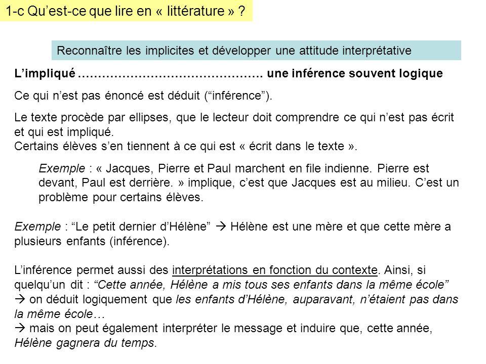 1-c Quest-ce que lire en « littérature » ? Reconnaître les implicites et développer une attitude interprétative Limpliqué ………………………………………. une inféren