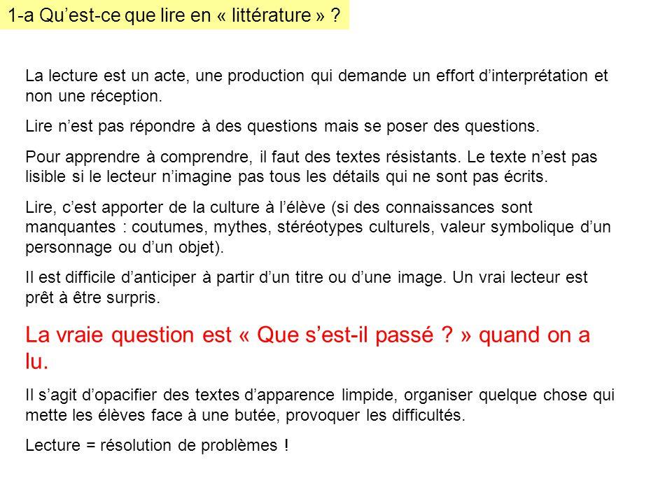 1-a Quest-ce que lire en « littérature » .Alors : les questionnaires de lecture .