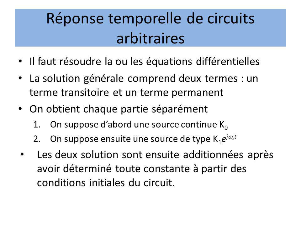 Réponse temporelle de circuits arbitraires Il faut résoudre la ou les équations différentielles La solution générale comprend deux termes : un terme t