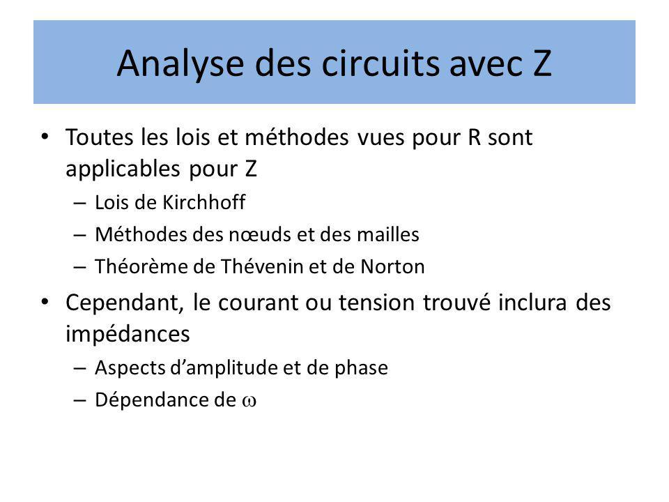 Analyse des circuits avec Z Toutes les lois et méthodes vues pour R sont applicables pour Z – Lois de Kirchhoff – Méthodes des nœuds et des mailles –