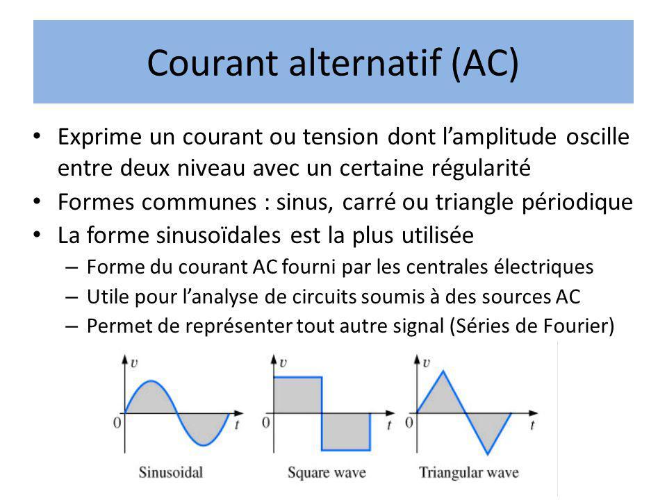 Courant alternatif (AC) Exprime un courant ou tension dont lamplitude oscille entre deux niveau avec un certaine régularité Formes communes : sinus, c