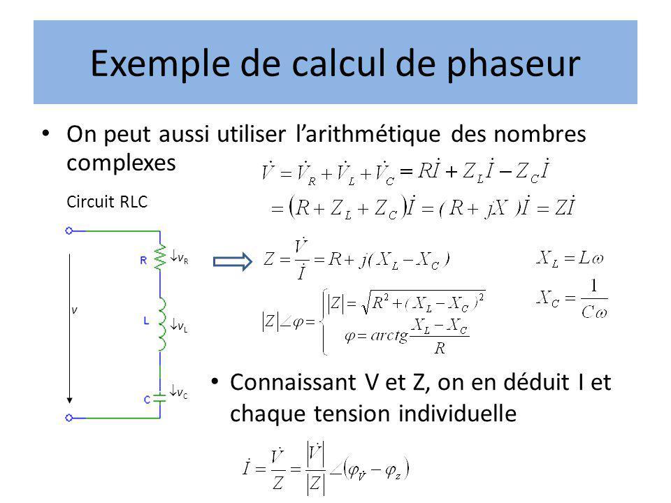 Exemple de calcul de phaseur On peut aussi utiliser larithmétique des nombres complexes Circuit RLC v v R v L v C Connaissant V et Z, on en déduit I e