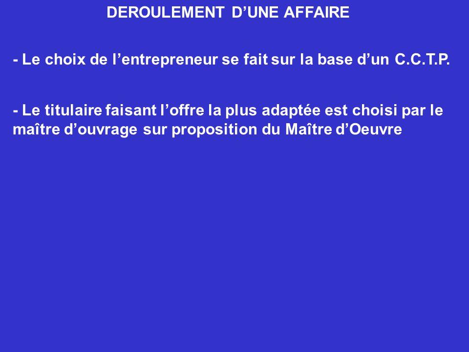 DEROULEMENT DUNE AFFAIRE - Le choix de lentrepreneur se fait sur la base dun C.C.T.P. - Le titulaire faisant loffre la plus adaptée est choisi par le