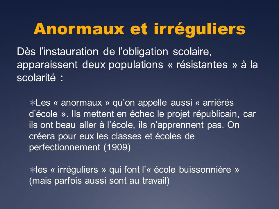 Anormaux et irréguliers Dès linstauration de lobligation scolaire, apparaissent deux populations « résistantes » à la scolarité : Les « anormaux » quon appelle aussi « arriérés décole ».