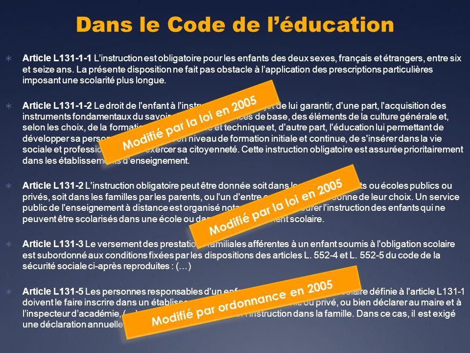 Dans le Code de léducation Article L131-1-1 Linstruction est obligatoire pour les enfants des deux sexes, français et étrangers, entre six et seize ans.