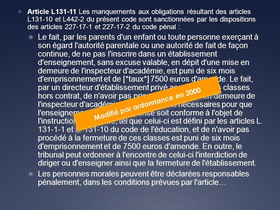 Article L131-11 Les manquements aux obligations résultant des articles L131-10 et L442-2 du présent code sont sanctionnées par les dispositions des articles 227-17-1 et 227-17-2 du code pénal : Le fait, par les parents d un enfant ou toute personne exerçant à son égard l autorité parentale ou une autorité de fait de façon continue, de ne pas l inscrire dans un établissement d enseignement, sans excuse valable, en dépit d une mise en demeure de l inspecteur d académie, est puni de six mois d emprisonnement et de [*taux*] 7500 euros d amende.