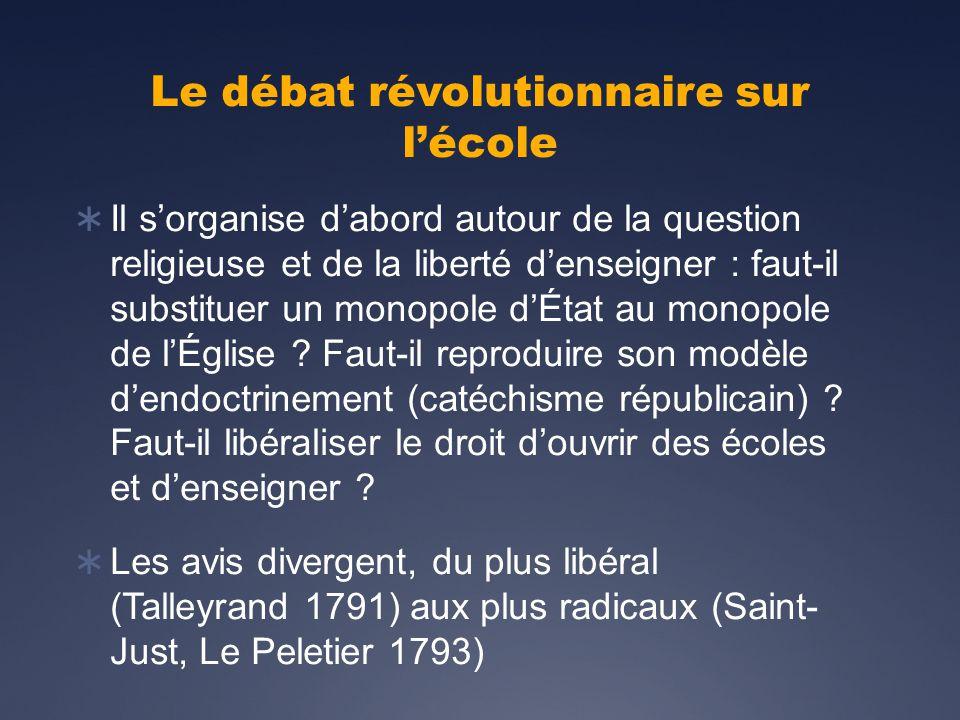 Le débat révolutionnaire sur lécole Il sorganise dabord autour de la question religieuse et de la liberté denseigner : faut-il substituer un monopole dÉtat au monopole de lÉglise .