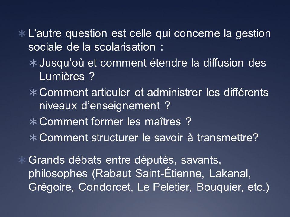 Lautre question est celle qui concerne la gestion sociale de la scolarisation : Jusquoù et comment étendre la diffusion des Lumières .