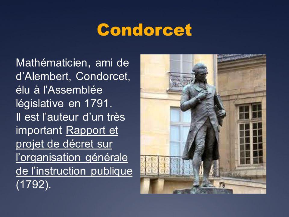 Condorcet Mathématicien, ami de dAlembert, Condorcet, élu à lAssemblée législative en 1791.