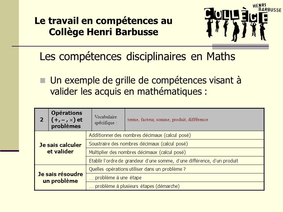 Les compétences disciplinaires en Maths Un exemple de grille de compétences visant à valider les acquis en mathématiques : Le travail en compétences a