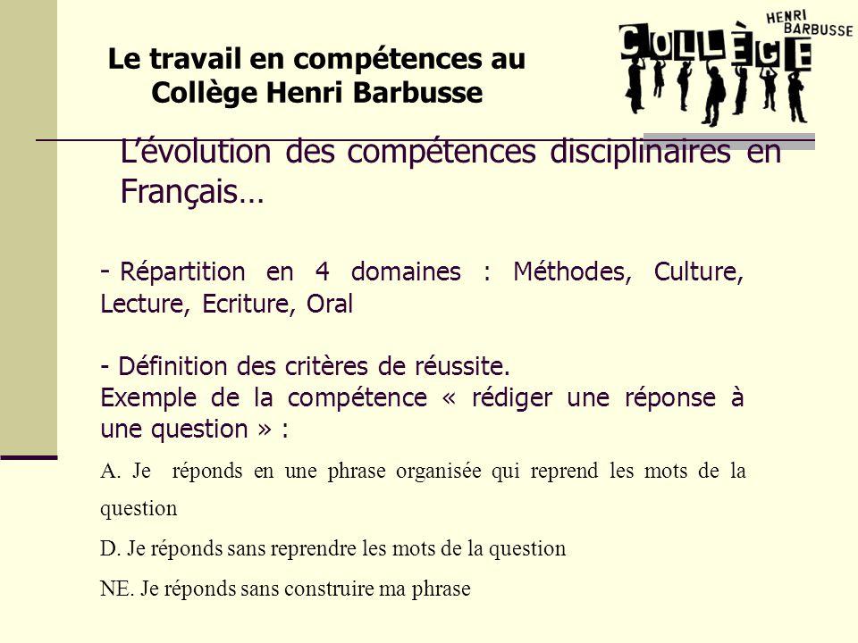 Lévolution des compétences disciplinaires en Français… Le travail en compétences au Collège Henri Barbusse - Répartition en 4 domaines : Méthodes, Cul