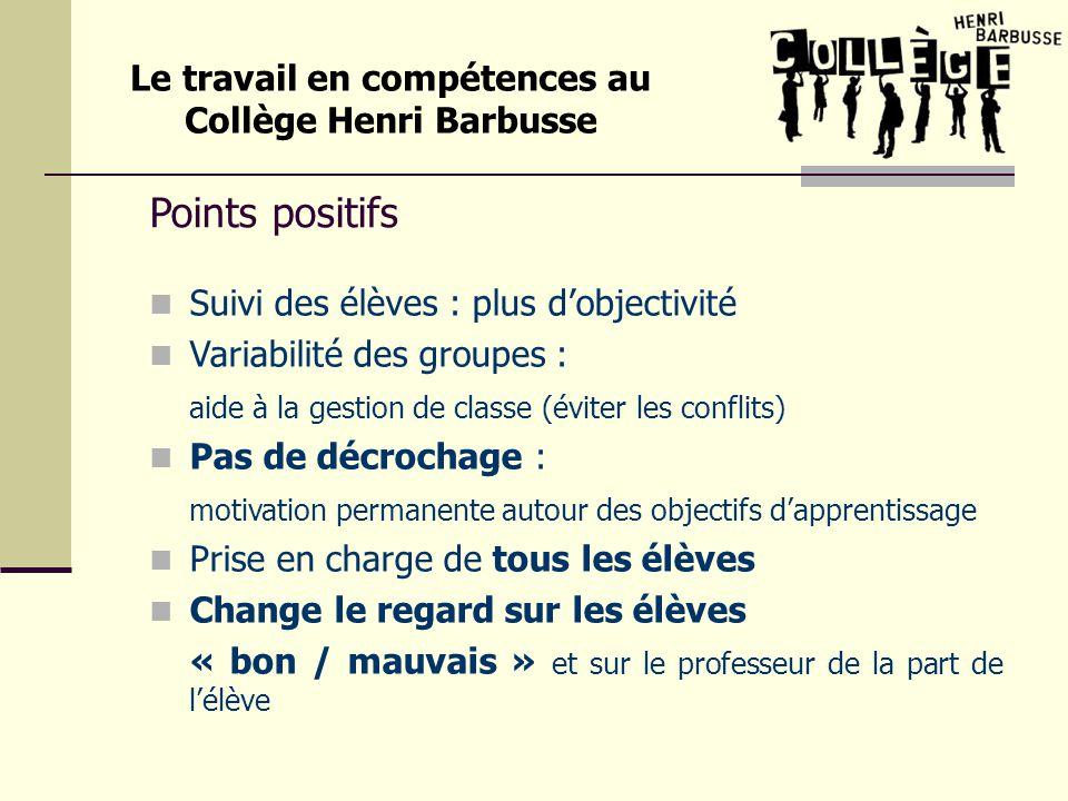 Points positifs Suivi des élèves : plus dobjectivité Variabilité des groupes : aide à la gestion de classe (éviter les conflits) Pas de décrochage : m