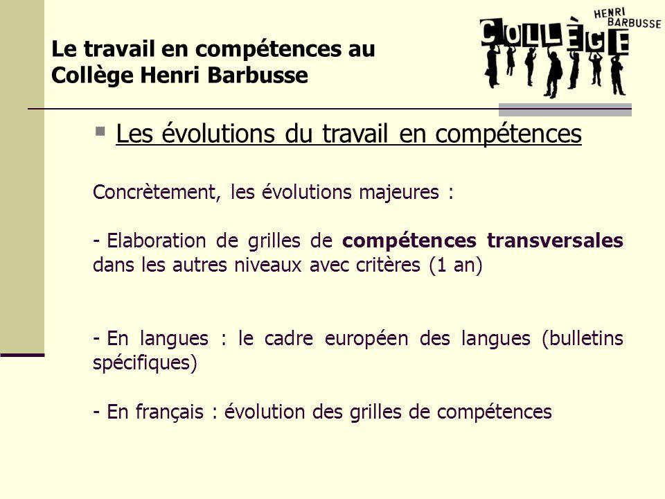 Le travail en compétences au Collège Henri Barbusse Les évolutions du travail en compétences Concrètement, les évolutions majeures : - Elaboration de