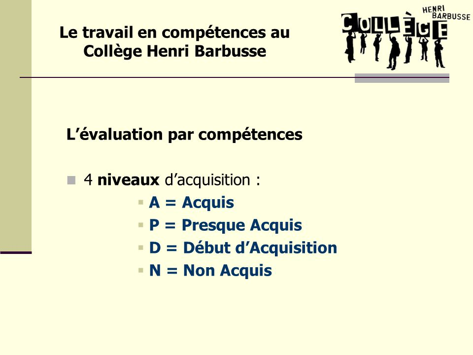 Lévaluation par compétences 4 niveaux dacquisition : A = Acquis P = Presque Acquis D = Début dAcquisition N = Non Acquis Le travail en compétences au