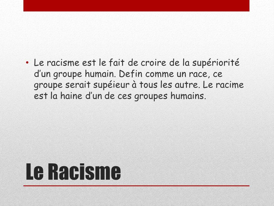 Le Racisme Le racisme est le fait de croire de la supériorité dun groupe humain.
