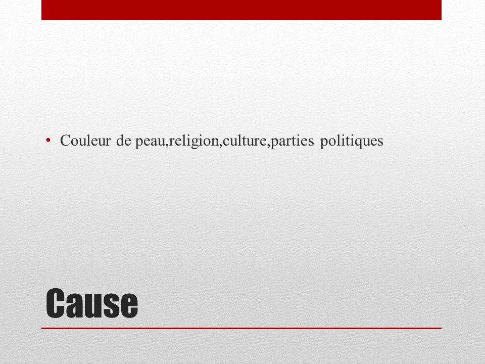 Cause Couleur de peau,religion,culture,parties politiques