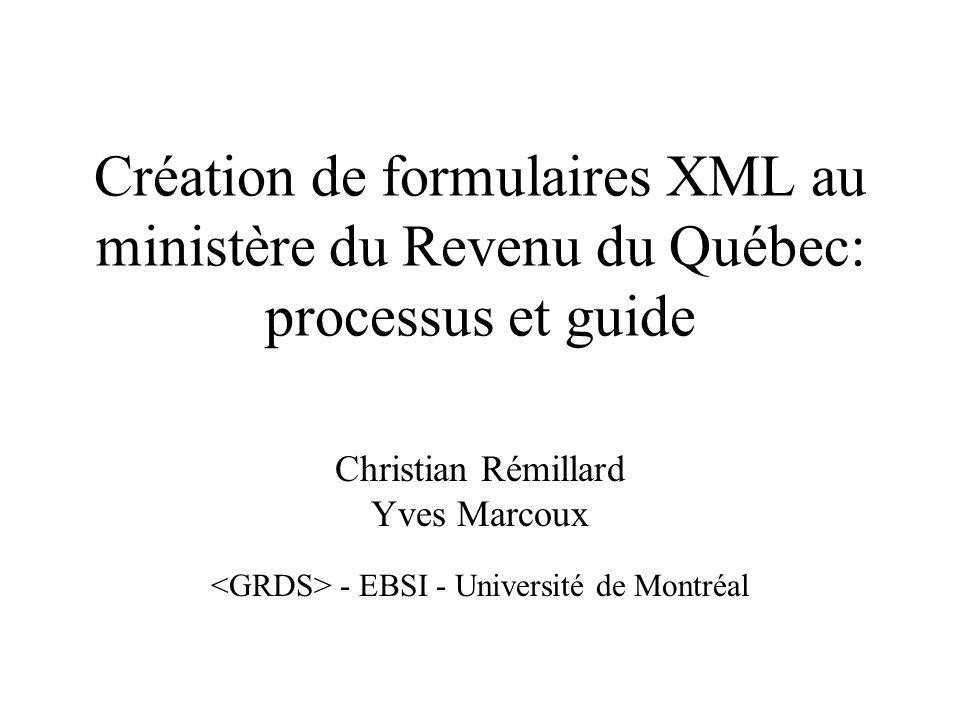 (c) Copyright 2001 Ministère du Revenu du Québec 12 Enregistrement au RR des schémas XML provisoires Enregistrement au RR des schémas XML définitifs Gestion des schémas XML Avec documentation, exemples et métadonnées de gestion Responsable: rôle modélisation XML