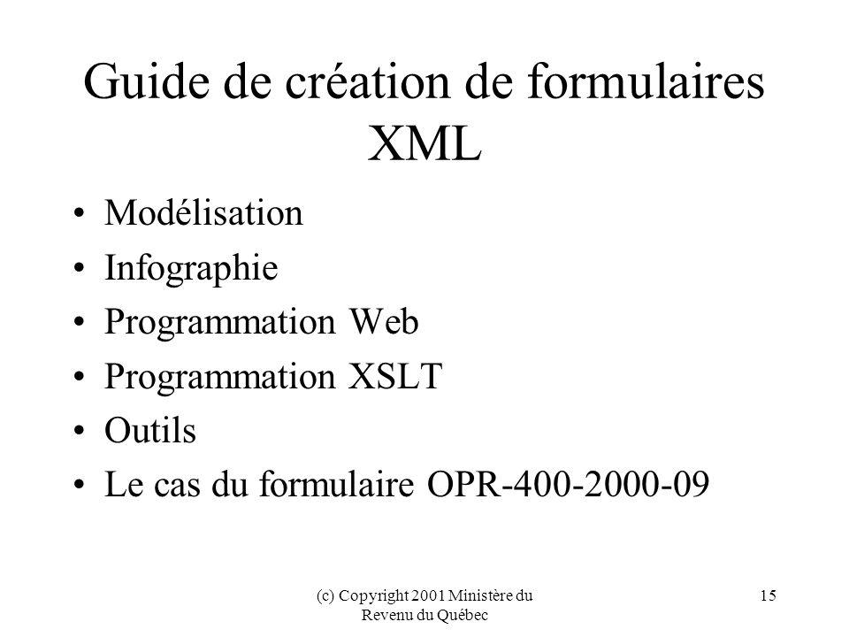 (c) Copyright 2001 Ministère du Revenu du Québec 15 Guide de création de formulaires XML Modélisation Infographie Programmation Web Programmation XSLT Outils Le cas du formulaire OPR-400-2000-09