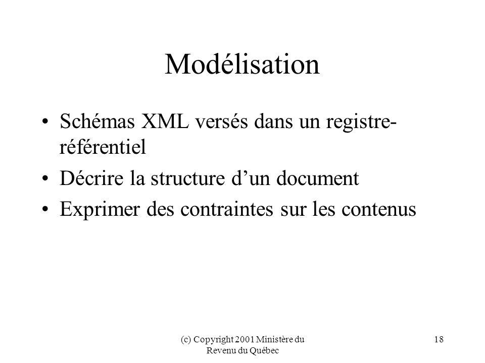 (c) Copyright 2001 Ministère du Revenu du Québec 18 Modélisation Schémas XML versés dans un registre- référentiel Décrire la structure dun document Exprimer des contraintes sur les contenus