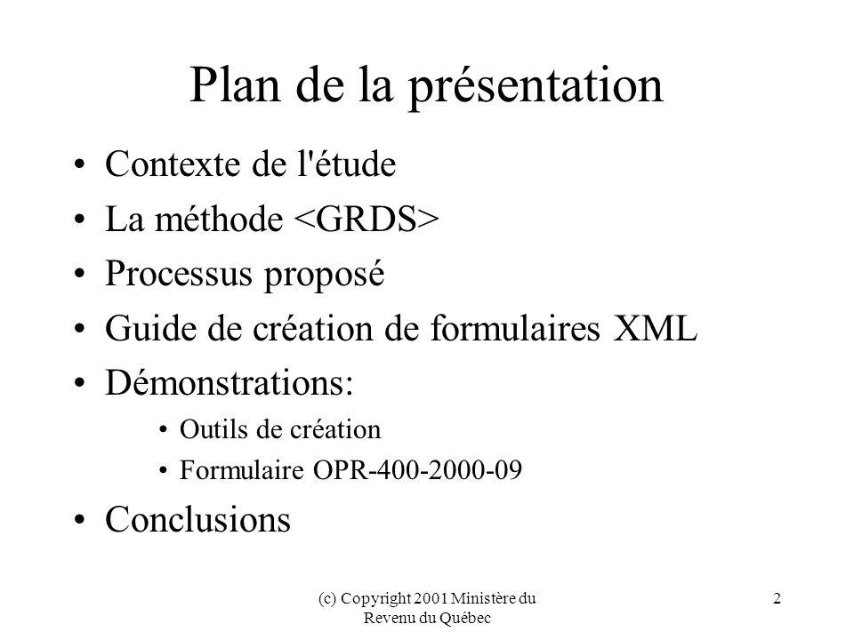 (c) Copyright 2001 Ministère du Revenu du Québec 2 Plan de la présentation Contexte de l étude La méthode Processus proposé Guide de création de formulaires XML Démonstrations: Outils de création Formulaire OPR-400-2000-09 Conclusions