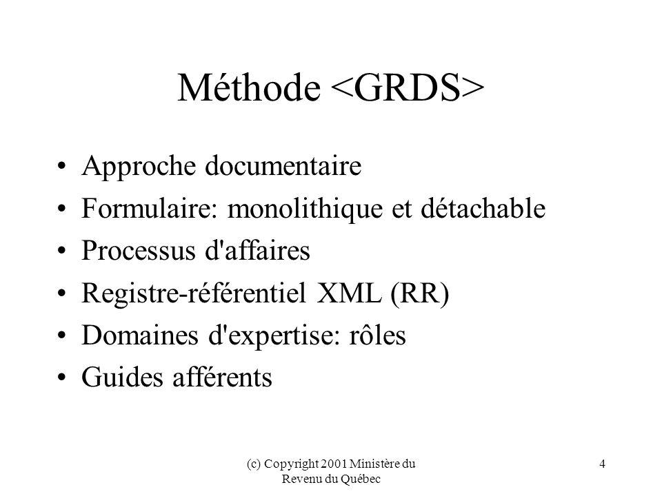 (c) Copyright 2001 Ministère du Revenu du Québec 25 Outils