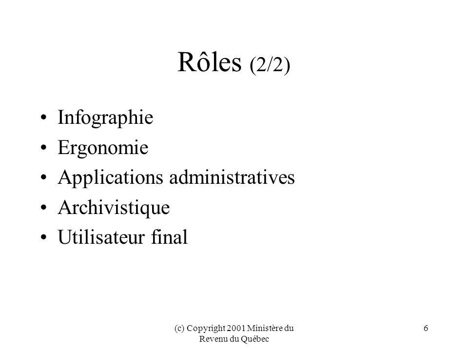 (c) Copyright 2001 Ministère du Revenu du Québec 27 Conclusions (1/2) Bénéfices: –Interopérabilité –Réutilisation –Conformité au projet de loi 161 –Guide de gestion intégrée des documents Évolution des normes: XForms, ebXML –Évolutivité grâce au RR