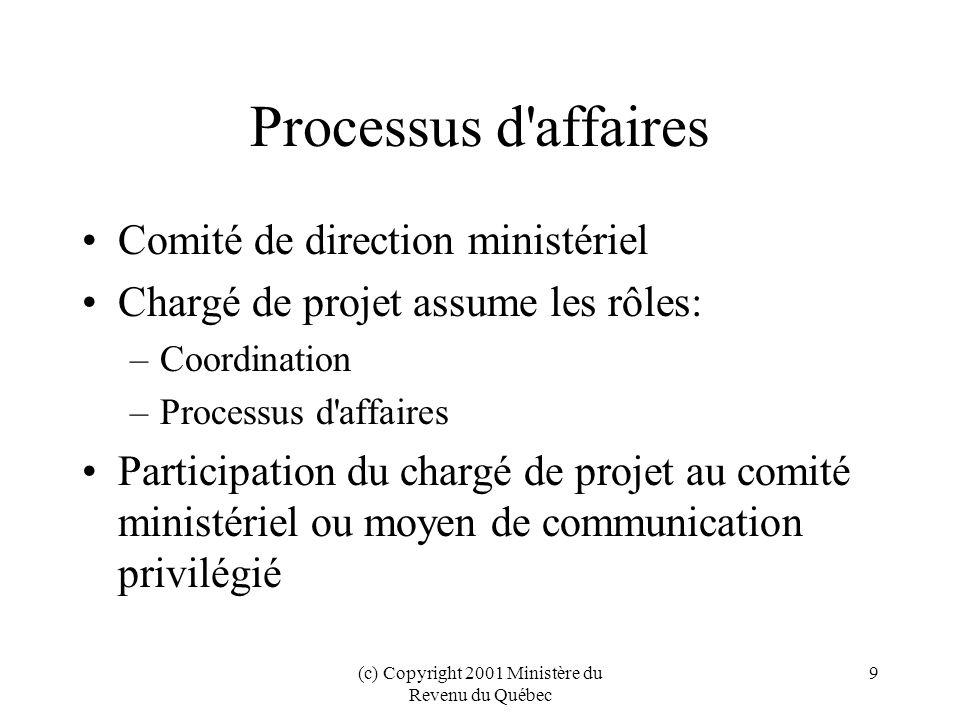 (c) Copyright 2001 Ministère du Revenu du Québec 10 Product.