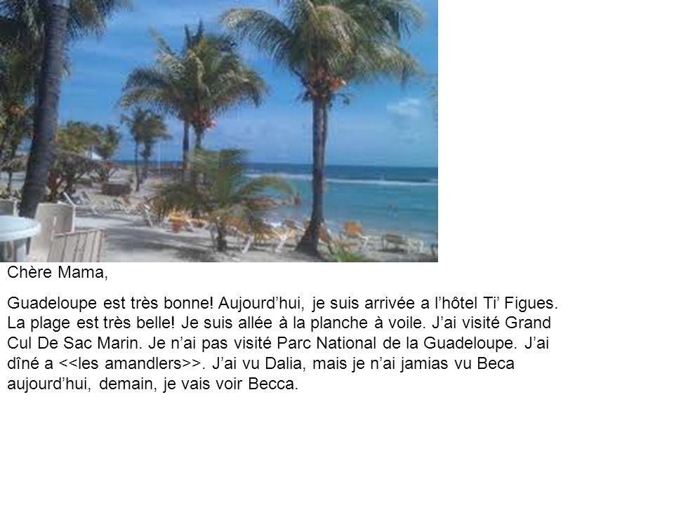 Chère Mama, Guadeloupe est très bonne. Aujourdhui, je suis arrivée a lhôtel Ti Figues.