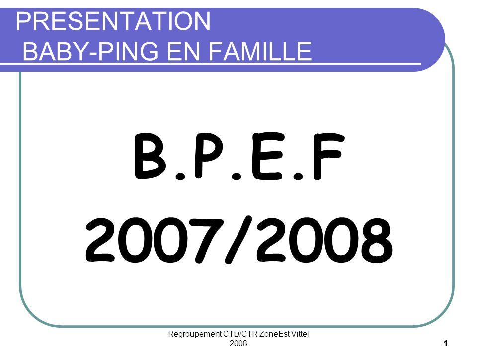 Regroupement CTD/CTR ZoneEst Vittel 20081 PRESENTATION BABY-PING EN FAMILLE B.P.E.F 2007/2008
