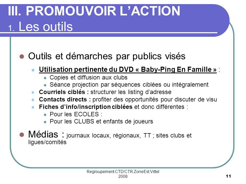 Regroupement CTD/CTR ZoneEst Vittel 200811 III.PROMOUVOIR LACTION 1.