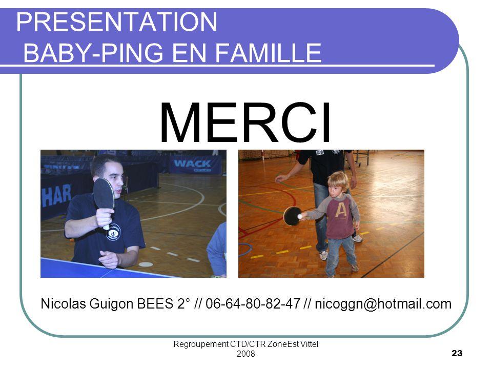 Regroupement CTD/CTR ZoneEst Vittel 200823 PRESENTATION BABY-PING EN FAMILLE MERCI Nicolas Guigon BEES 2° // 06-64-80-82-47 // nicoggn@hotmail.com