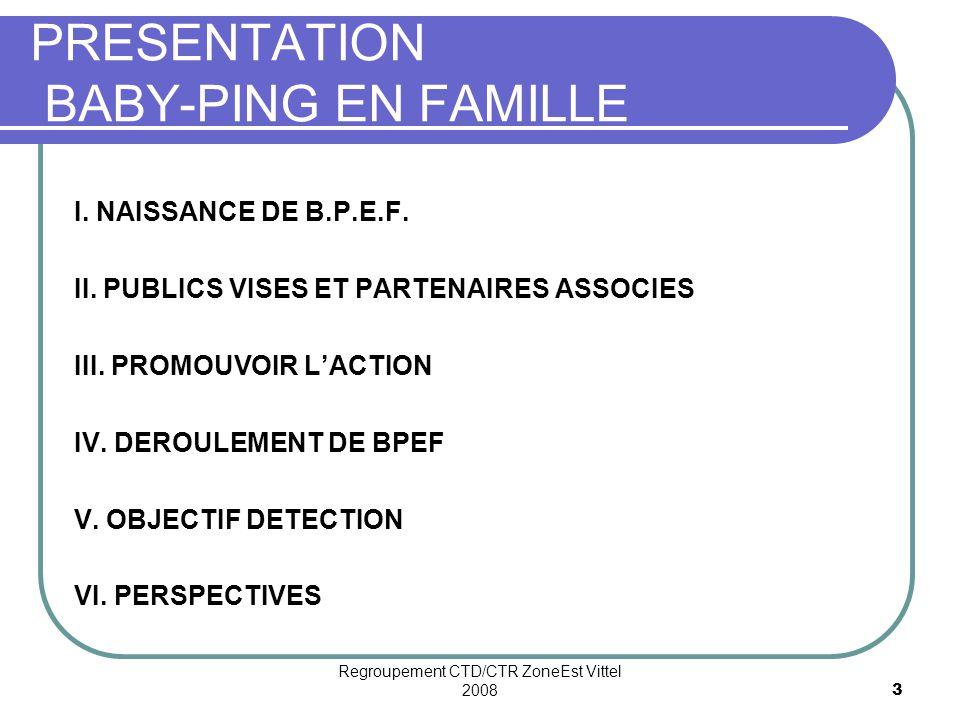 Regroupement CTD/CTR ZoneEst Vittel 20083 PRESENTATION BABY-PING EN FAMILLE I.