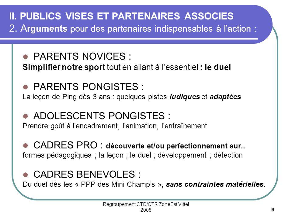 Regroupement CTD/CTR ZoneEst Vittel 20089 II.PUBLICS VISES ET PARTENAIRES ASSOCIES 2.