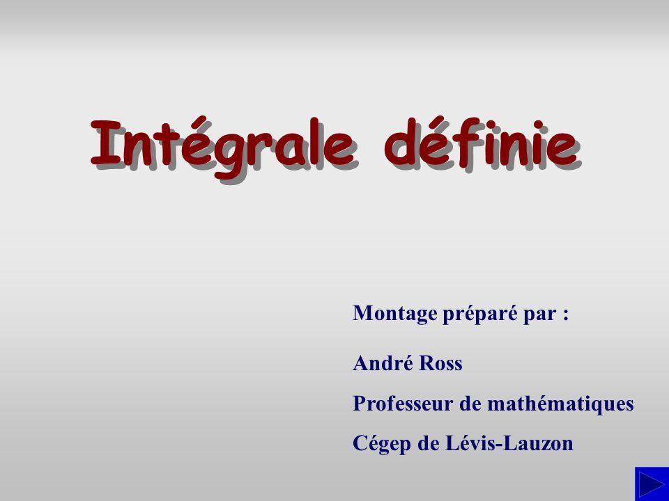 Montage préparé par : André Ross Professeur de mathématiques Cégep de Lévis-Lauzon Intégrale définie Intégrale définie