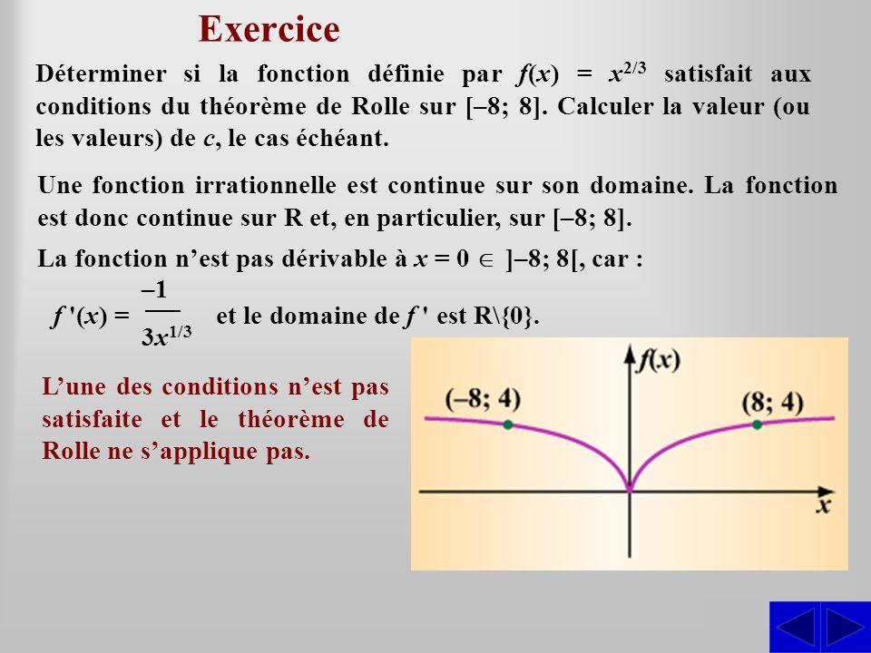 Exercice SS Une fonction irrationnelle est continue sur son domaine. La fonction est donc continue sur R et, en particulier, sur [–8; 8]. La fonction