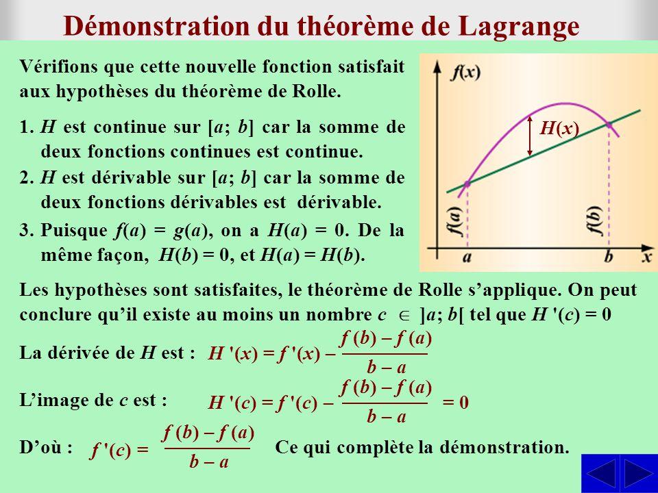 SS Notons g, la fonction dont le graphique est la sécante à la courbe de la fonction f passant par les points (a; f(a)) et (b; f(b)).