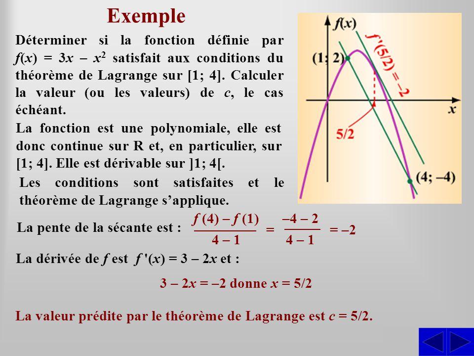 Exemple SS Déterminer si la fonction définie par f(x) = 3x – x 2 satisfait aux conditions du théorème de Lagrange sur [1; 4]. Calculer la valeur (ou l