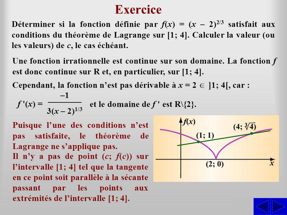 Exercice SS Une fonction irrationnelle est continue sur son domaine. La fonction f est donc continue sur R et, en particulier, sur [1; 4]. Cependant,