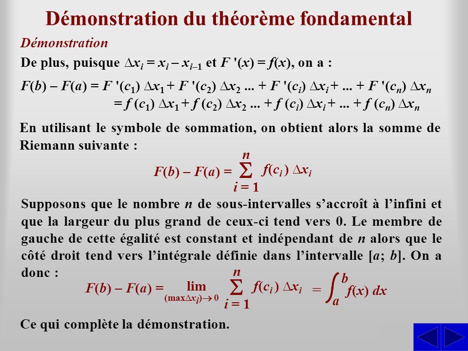 Démonstration du théorème fondamental S Démonstration De plus, puisque x i = x i – x i–1 et F (x) = f(x), on a : F(b) – F(a) = F (c 1 ) x 1 + F (c 2 ) x 2...