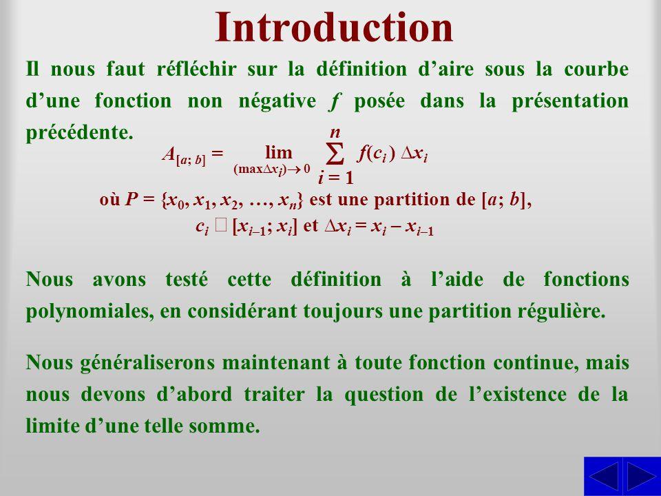 Fonction intégrable S - Définition Fonction intégrable au sens de Riemann Soit f, une fonction définie sur [a; b] et P = {x 0, x 1, x 2, …, x n } une partition quelconque de [a; b].