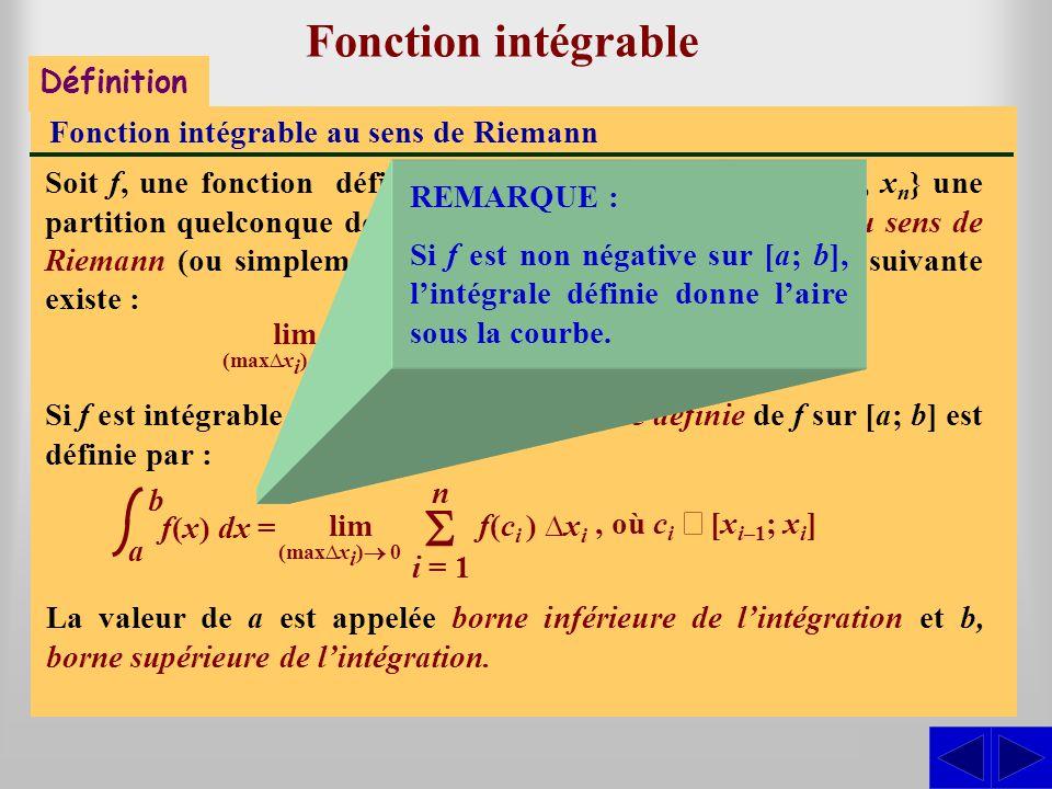 Fonction intégrable S - Définition Fonction intégrable au sens de Riemann Soit f, une fonction définie sur [a; b] et P = {x 0, x 1, x 2, …, x n } une