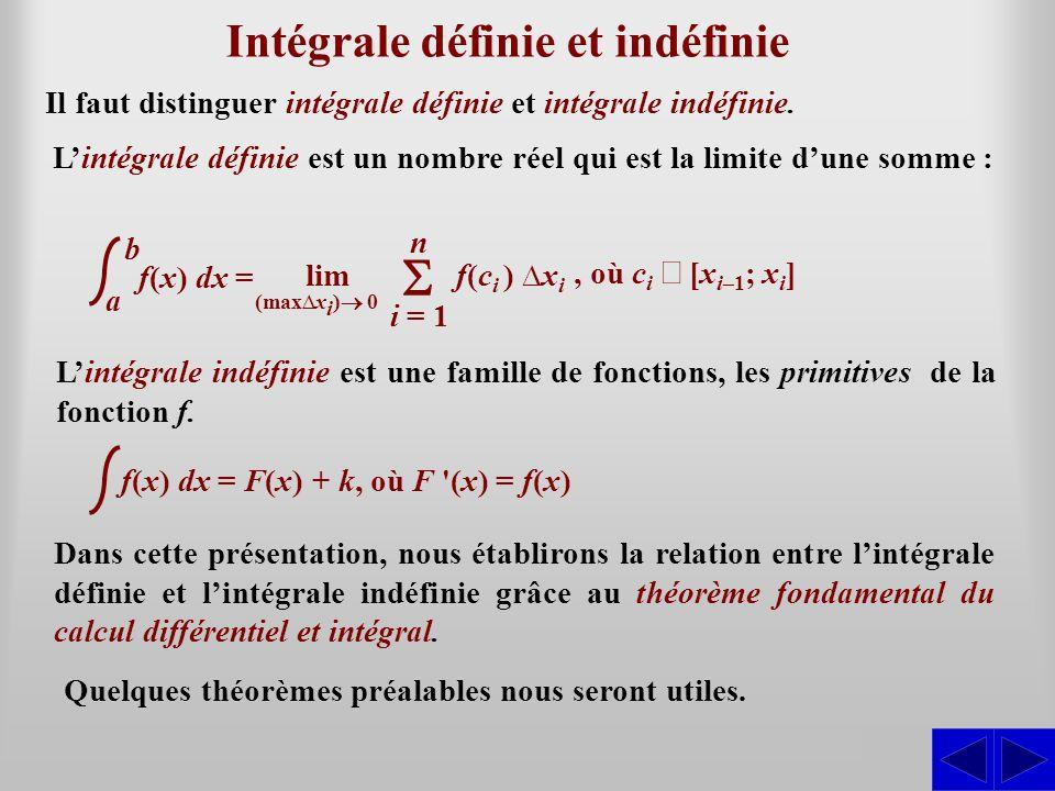 Intégrale définie et indéfinie S Il faut distinguer intégrale définie et intégrale indéfinie. i = 1 n f(c i ) x i lim (maxx i ) 0 f(x) dx = a b, où c