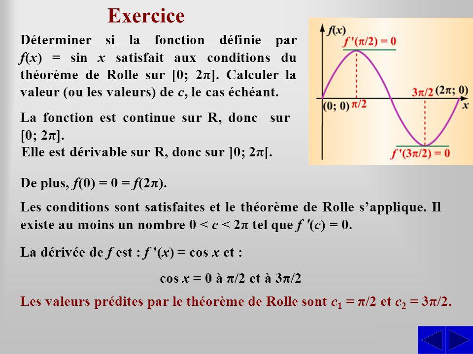 Exercice SS Déterminer si la fonction définie par f(x) = sin x satisfait aux conditions du théorème de Rolle sur [0; 2π]. Calculer la valeur (ou les v