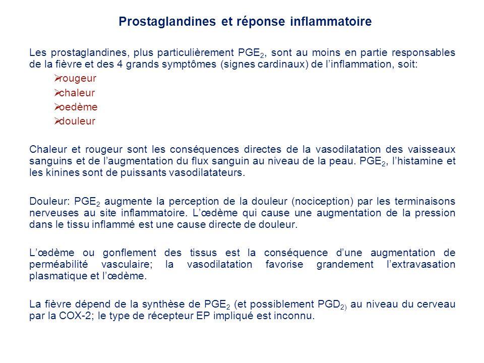 Les prostaglandines, plus particulièrement PGE 2, sont au moins en partie responsables de la fièvre et des 4 grands symptômes (signes cardinaux) de li