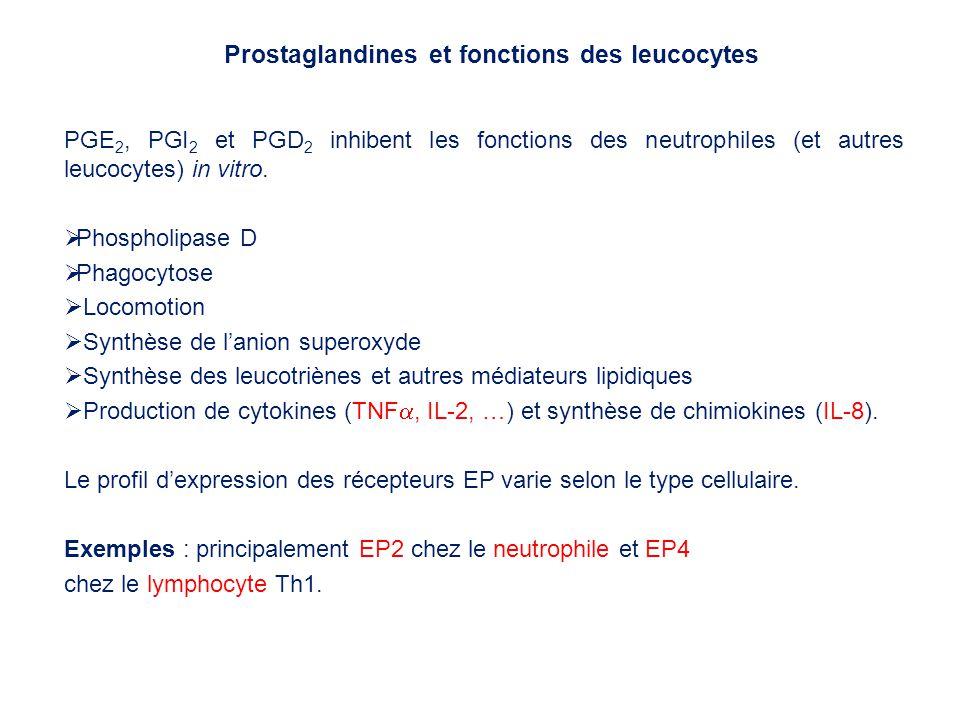PGE 2, PGI 2 et PGD 2 inhibent les fonctions des neutrophiles (et autres leucocytes) in vitro. Phospholipase D Phagocytose Locomotion Synthèse de lani