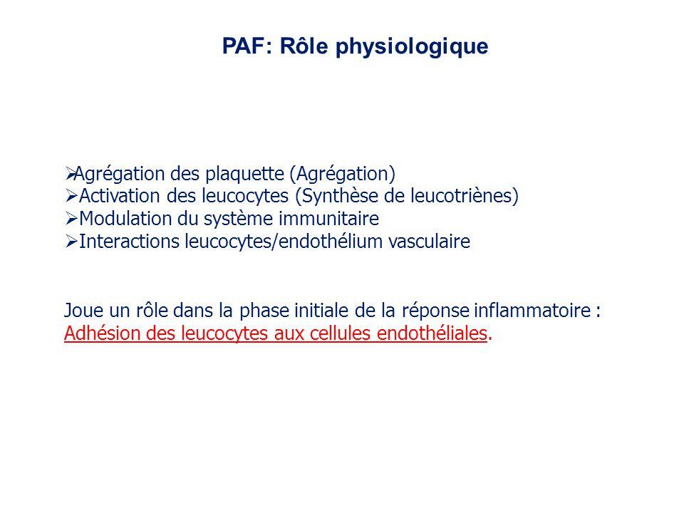 Agrégation des plaquette (Agrégation) Activation des leucocytes (Synthèse de leucotriènes) Modulation du système immunitaire Interactions leucocytes/e
