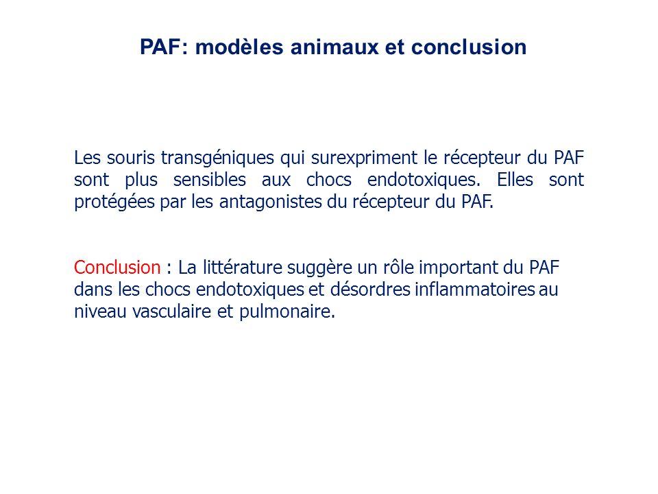 Les souris transgéniques qui surexpriment le récepteur du PAF sont plus sensibles aux chocs endotoxiques. Elles sont protégées par les antagonistes du