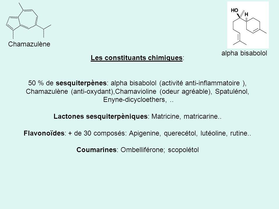 Les constituants chimiques: 50 % de sesquiterpènes: alpha bisabolol (activité anti-inflammatoire ), Chamazulène (anti-oxydant),Chamavioline (odeur agréable), Spatulénol, Enyne-dicycloethers,..
