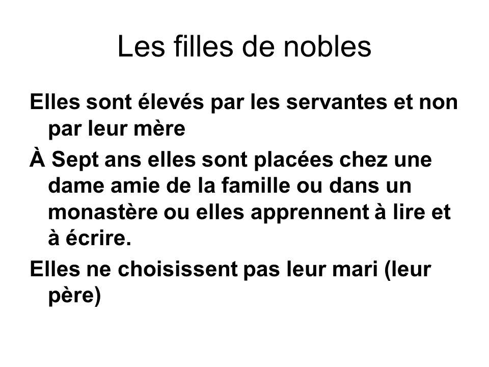 Les filles de nobles Elles sont élevés par les servantes et non par leur mère À Sept ans elles sont placées chez une dame amie de la famille ou dans un monastère ou elles apprennent à lire et à écrire.