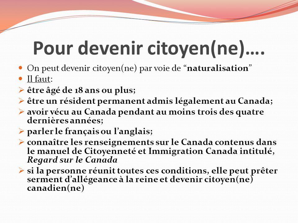 Pour devenir citoyen(ne)…. On peut devenir citoyen(ne) par voie de naturalisation Il faut: être âgé de 18 ans ou plus; être un résident permanent admi